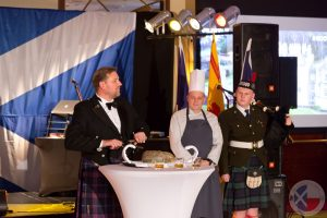 Iain Leyden gives the address to the haggis in his own inimitable style